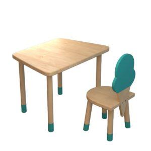 Scaun din lemn pentru copii - inghetata turcuaz